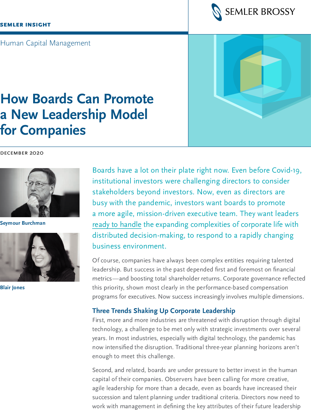 How Boards Can Promote A New Leadership Model