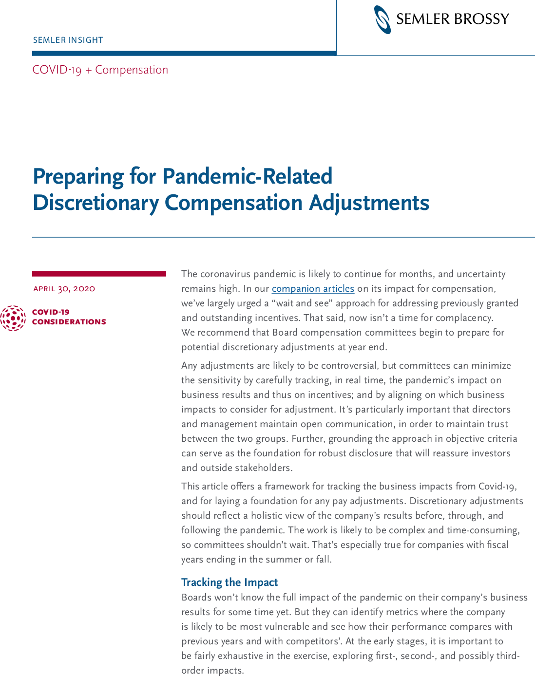 Preparing for Pandemic-Related Discretionary Compensation Adjustments